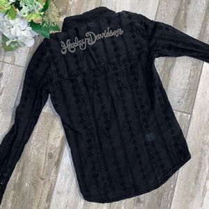 Harley Davidson Black Button Down XS Crocheted